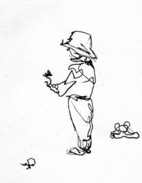 Kind, Blumen, Sommer, Zeichnungen