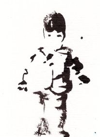 Banksystyle, Schwarzweiß, Kind, Tuschmalerei