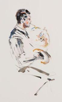 Hornist, Horn, Bläser, Acrylmalerei