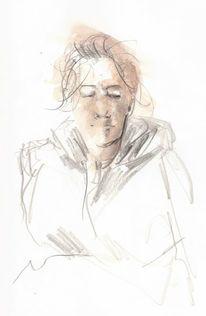 Aquarellmalerei, Skizze, Portrait, Frau
