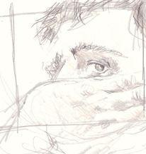 Nachdenklich, Selbstportrait, Studie, Traurig