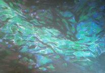 Fluss, Blau, Abstrakt, Grün