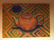 Teekanne, Tasse, Muster, Stillleben