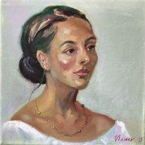 Gesicht, Portrait mädchen, Ölmalerei, Frau