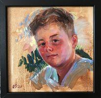Sonnenlicht, Portrait, Ölmalerei, Junge