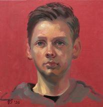 Portrait, Rot, Licht, Menschen