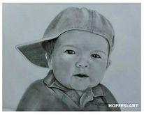 Portrait, Bleistiftzeichnung, Kleiner junge, Zeichnung