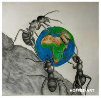 Bleistiftzeichnung, Zeichnung, Ameise, Fantasie