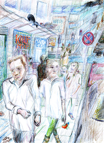 Buntstiftzeichnung, Stadt, Stress, Comic