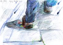 Fleck, Buntstiftzeichnung, Hose, Schuhe