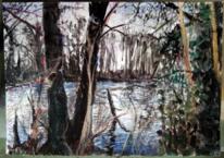 Winter, Tusche, Gestrüp, Pastellmalerei
