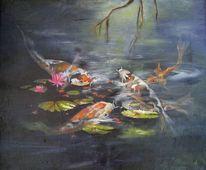 Wasser, Natur, Koi, Malerei