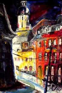 Aquarellmalerei, Winternacht, Dezember, Burgberg