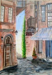 Balkon, Gasse, Acrylmalerei, Sonnenlicht