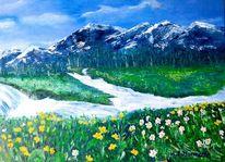 Wasser fließt, Landschaft malerei, Bergen, Frühling