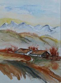 Herbst, Berge, Häuser, Feld