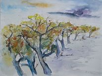 Allee, Wolken, Herbst, Baum