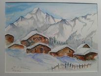 Hütte, Winterlandschaft, Schnee, Berge
