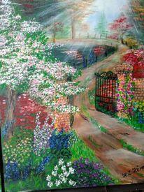 Lichtstrahlen, Weg, Blumen, Gartentür