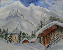 Häuser, Winterland, Schnee, Berge