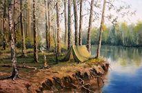Fluss, Wald, Landschaft, Malerei