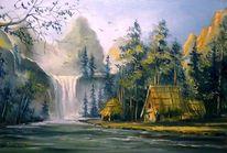 Natur, Malerei, Landschaft, Dorf