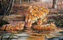Natur, Katze, Tigre, Ölmalerei