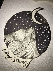 Berge, Mond, Stern, Galaxie