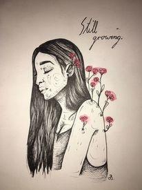 Blumen, Rot, Zeichnung, Frau