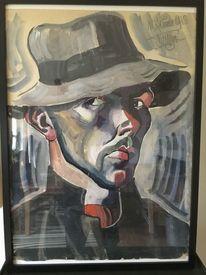 Schwarz, Malen, Malerei, Mann mit hut
