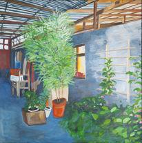 Ölmalerei, Acrylmalerei, Hof, Malerei