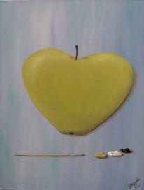 Herz, Gefühl, Apfel, Malerei