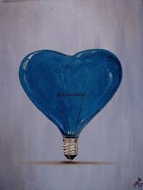 Herz, Alarm, Blau, Malerei