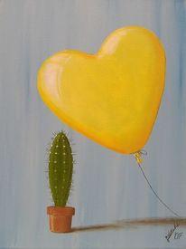 Ballon, Kaktuy, Herz, Malerei