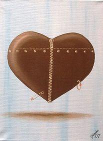 Herz, Leder, Niete, Malerei