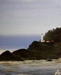 Meer, Abend, Leuchtturm, Malerei