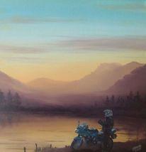 Pause, Motorrad, Sonnenuntergang, Malerei