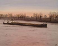 Sonnenuntergang, Schiff, Rhein, Sonne