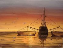 Meer, Schiff, Sonnenuntergang, Malerei