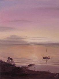 Liebe, Boot, Sonnenuntergang, Malerei