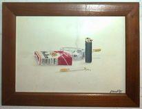 Zigarette, Feuerzeug, Rauch, Malerei
