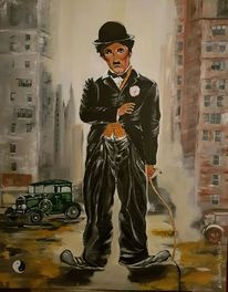 Manhattan, Malerei, Charly chaplin, Surreal