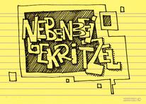 Worte, Karteikarten, Nebenbeigekritzel, Illustrationen