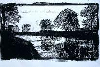 Fluss, Natur, Spiegelung, Linolschnitt