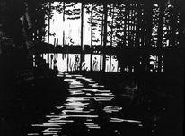 Lichtspiel, Wald, Linolschnitt, Natur
