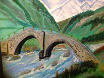 Berge, Alte brücke, Licht, Malerei