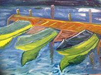Boot, Spiegelung, Am hafen, Malerei