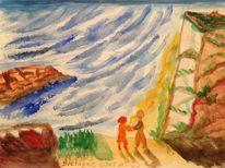 Steilküste, Welle, Licht, Meer