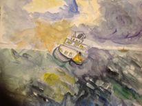 Hoffnung im strum, Wolken, Welle, Aquarell