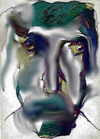 Portrait, Digital, Expressionismus, Mischtechnik